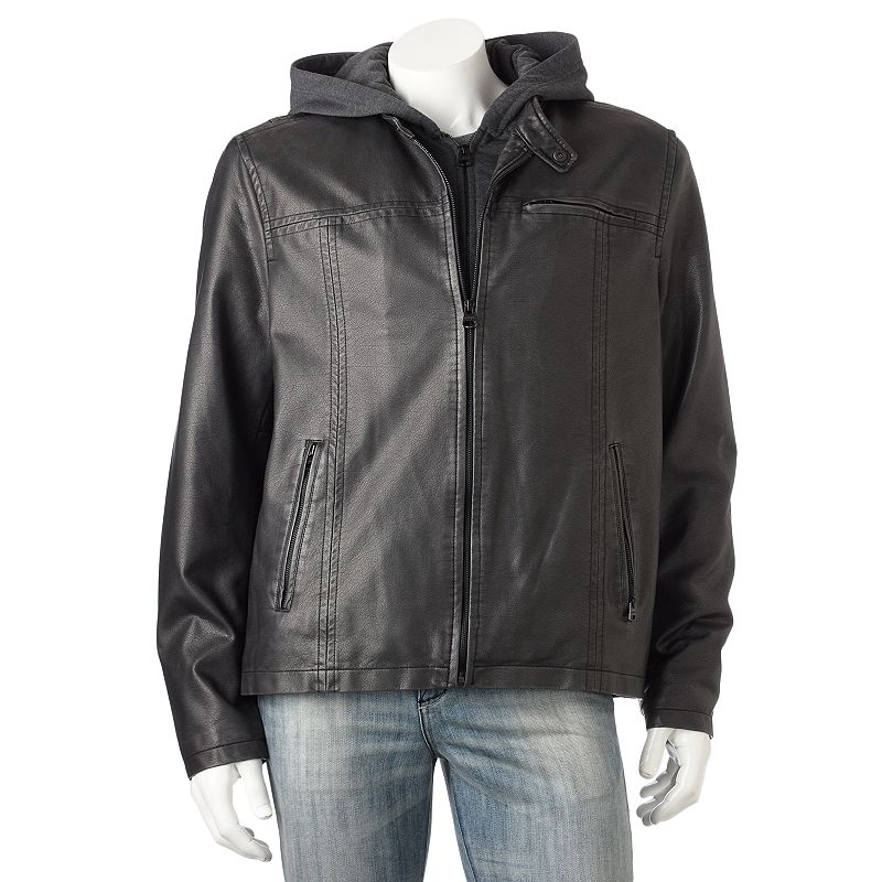 Levi's Faux-Leather Hooded Racer Jacket - Big & Tall Size 2X BIG (Black)