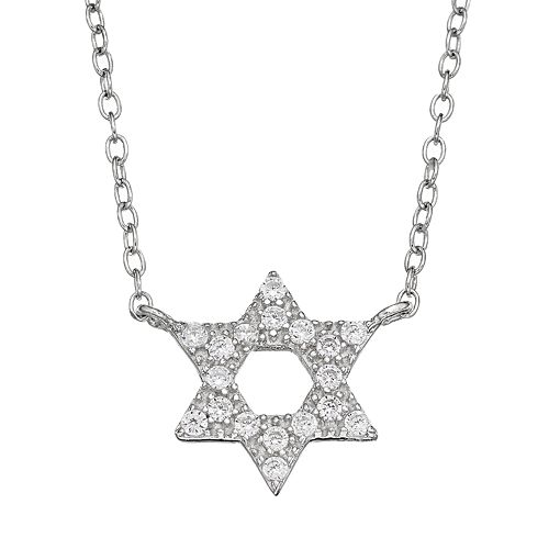 Cubic Zirconia Sterling Silver Star of David Necklace