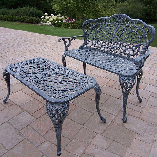 Mississippi Cast Aluminum Outdoor Bench 2-piece Set