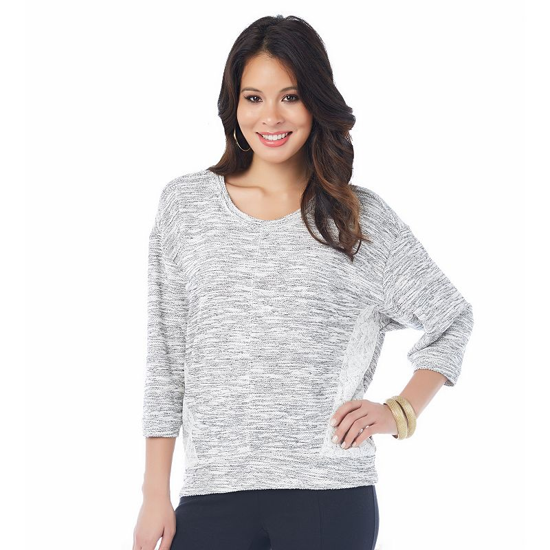 Women's daisy fuentes Lace French Terry Sweatshirt