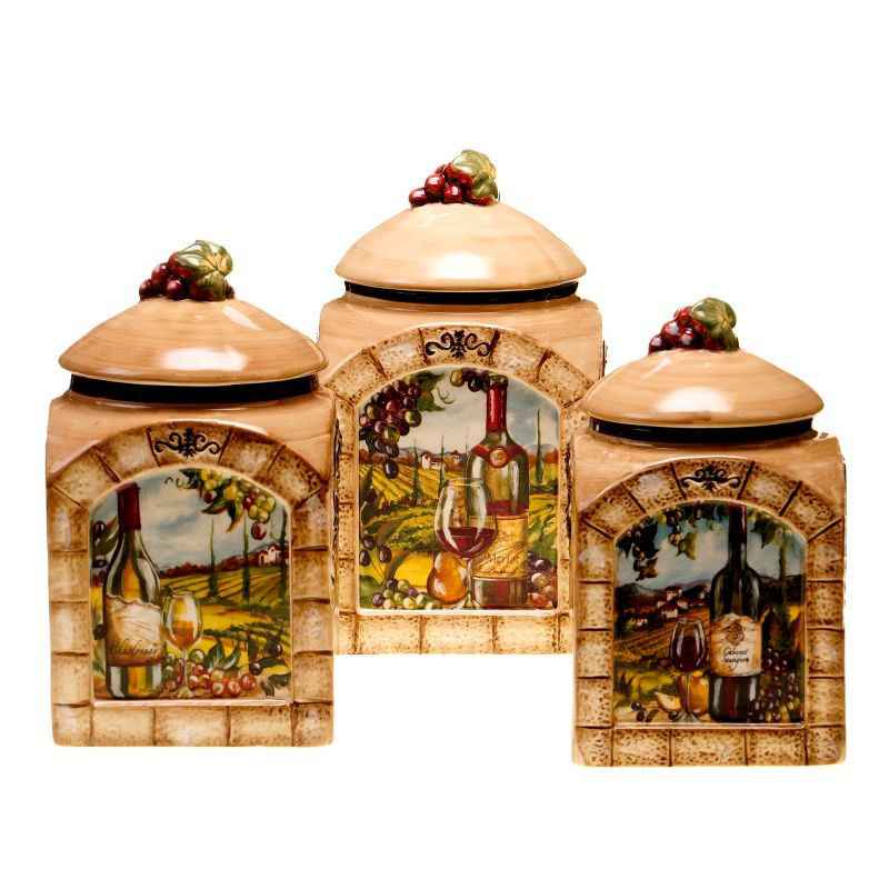 certified international tuscan view 3 pc kitchen canister set tuscan kitchen canister sets car tuning