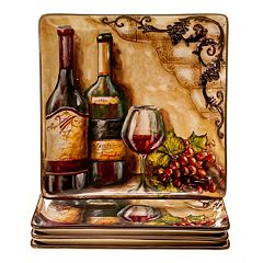 Certified International Tuscan View 4 pc Square Dinner Plate Set