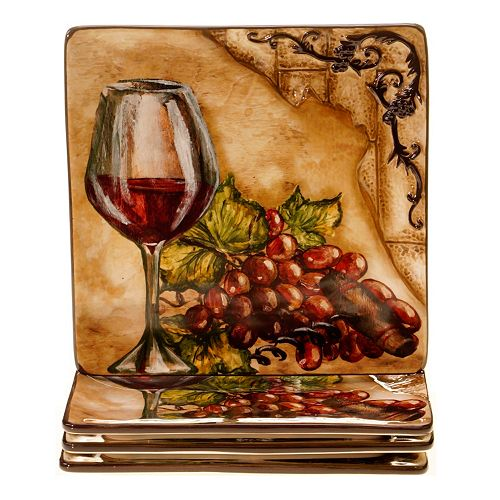 Certified International Tuscan View 4-pc. Square Dessert Plate Set