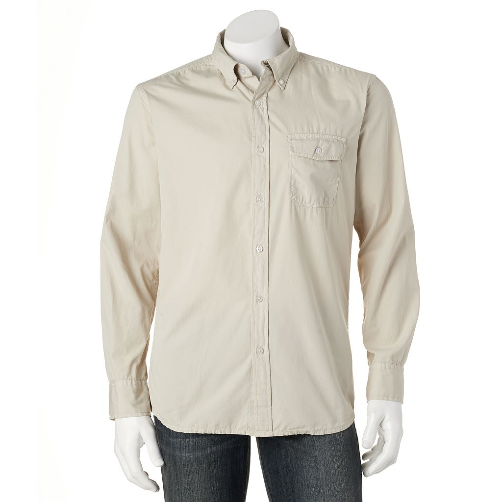 Men's Croft & Barrow® Solid Crosshatch Casual Button-Down Shirt