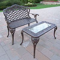 Tea Rose Cast Aluminum Outdoor Bench 2 pc Set