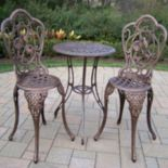 Hummingbird Cast Aluminum Outdoor Bistro Table 3-piece Set