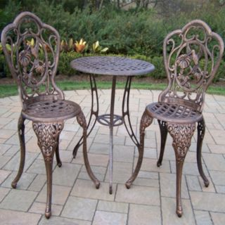 Hummingbird Cast Aluminum Outdoor Bistro Table 3-piece Set