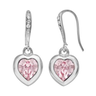 Illuminaire Crystal Silver-Plated Heart Drop Earrings - Made with Swarovski Crystals