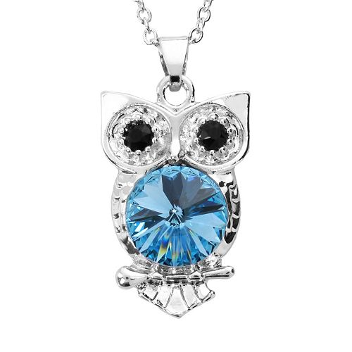 Illuminaire Crystal Silver-Plated Owl Pendant - Made with Swarovski Crystals