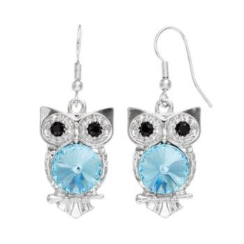 Illuminaire Crystal Silver-Plated Owl Drop Earrings - Made with Swarovski Crystals