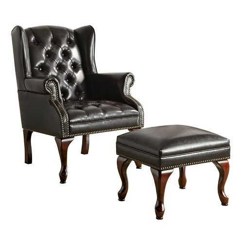 Remarkable Coaster 2 Piece Elegant Wing Chair Ottoman Set Bralicious Painted Fabric Chair Ideas Braliciousco