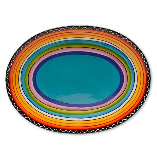 "Certified International Tequila Sunrise 16"" x 12"" Oval Serving Platter"