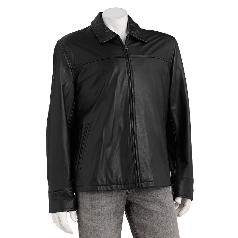 Chaps Leather Open-Bottom Jacket - Big & Tall