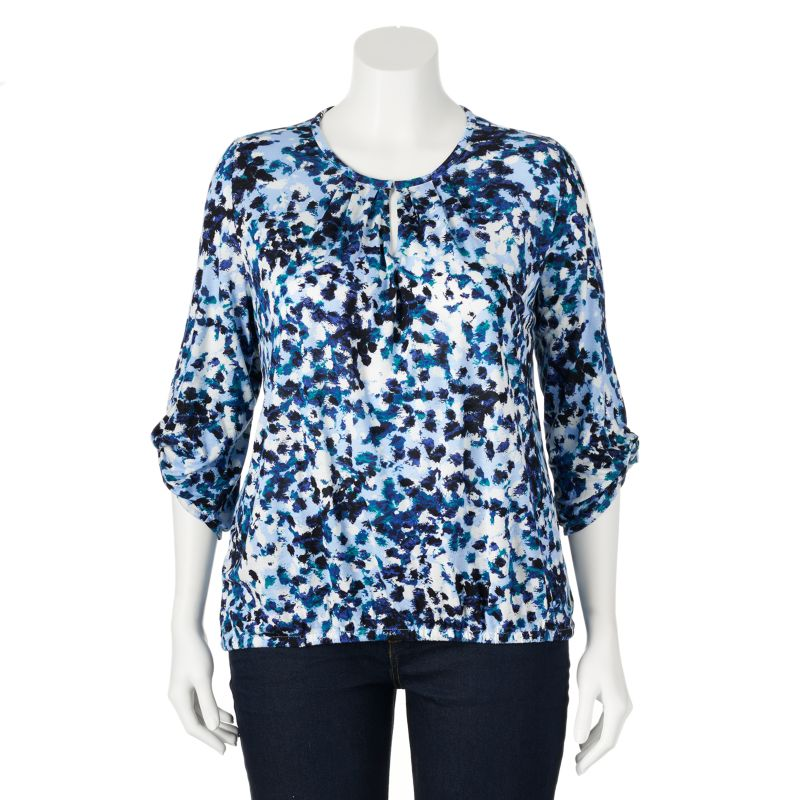 daisy fuentes Printed Peasant Top - Women's Plus Size, Size: 1X (Blue)