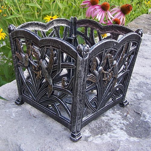 Hummingbird Decorative Square Flower Pot
