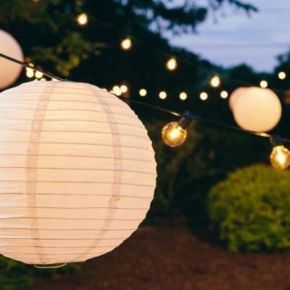 LumaBase 10-pk. Paper Lantern and String Lights Set