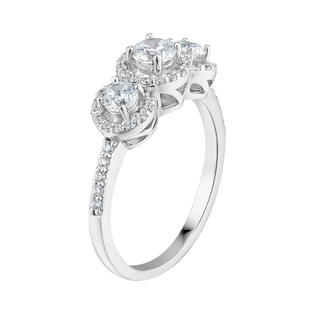 DiamonLuxe Simulated Diamond 3-Stone Engagement Ring in Sterling Silver (1 Carat T.W.)