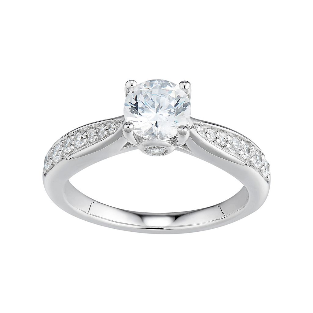 DiamonLuxe Simulated Diamond Engagement Ring in Sterling Silver (1 1/4 Carat T.W.)