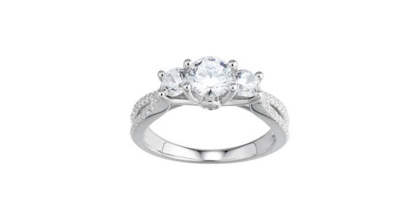 Diamond Rings For Sale Kohls: DiamonLuxe Simulated Diamond 3-Stone Engagement Ring In