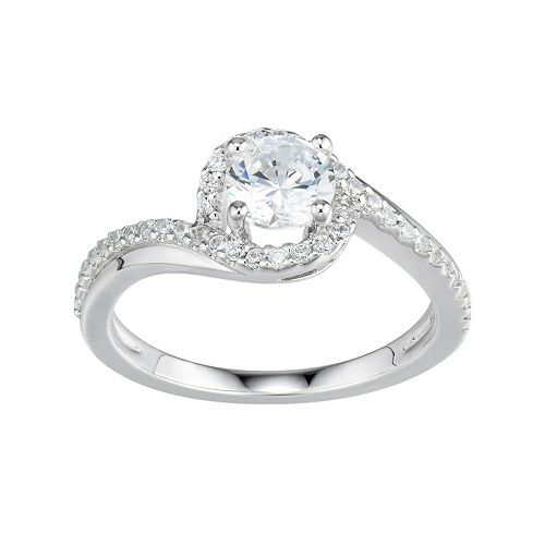 DiamonLuxe Simulated Diamond Engagement Ring in Sterling Silver (1 Carat T.W.)