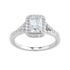 DiamonLuxe Simulated Diamond Rectangle Halo Engagement Ring in Sterling Silver (1 1/2 Carat T.W.)