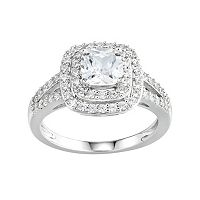 DiamonLuxe Simulated Diamond Tiered Halo Engagement Ring in Sterling Silver (1 1/2 Carat T.W.)