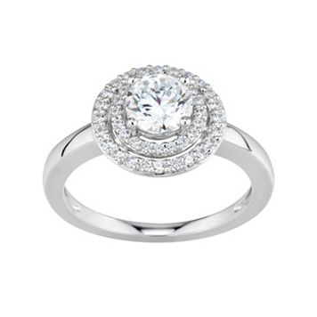 DiamonLuxe Simulated Diamond Tiered Halo Engagement Ring in Sterling Silver (1 1/4 Carat T.W.)