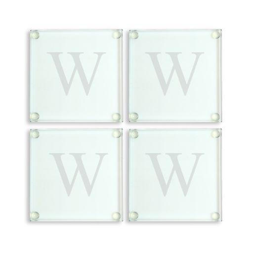 Cathy's Concepts Monogram 4-pc. Glass Coaster Set