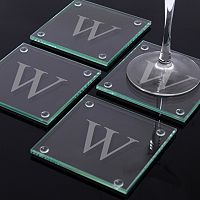 Cathy's Concepts Monogram 4-pc. Glass Coaster Set