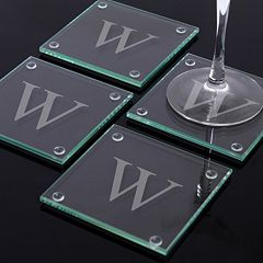 Cathy's Concepts Monogram 4 pc Glass Coaster Set