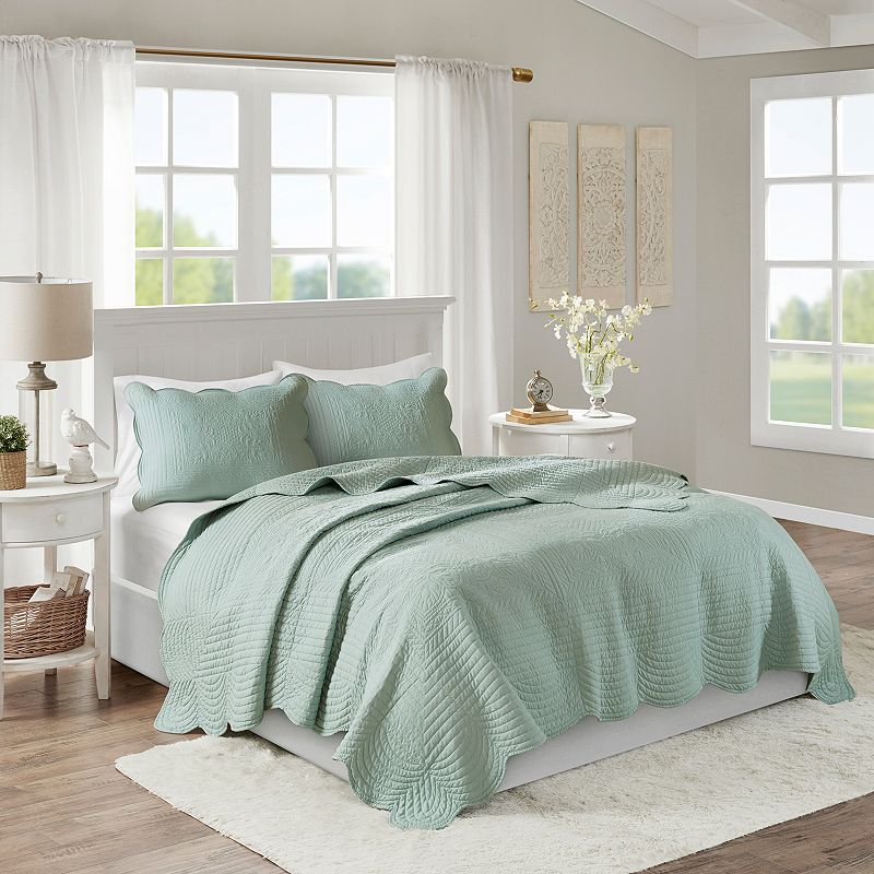 Madison Park Marino 3-piece Quilted Coverlet Set. Green. King
