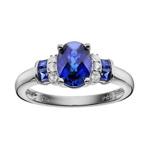 Lab-Created Blue & White Sapphire Sterling Silver Ring