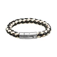 Stainless Steel Woven Leather Bracelet - Men