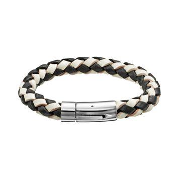 Stainless Steel Woven Leather Bracelet - Men