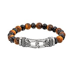 Tiger's-Eye & Black Agate Stainless Steel Tribal Stretch Bracelet - Men