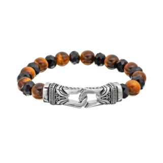 Tiger's-Eye and Black Agate Stainless Steel Tribal Stretch Bracelet - Men