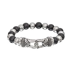 Onyx Stainless Steel Bead Tribal Stretch Bracelet - Men
