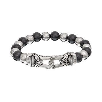 Onyx Stainless Steel Bead Tribal Stretch Bracelet - Men