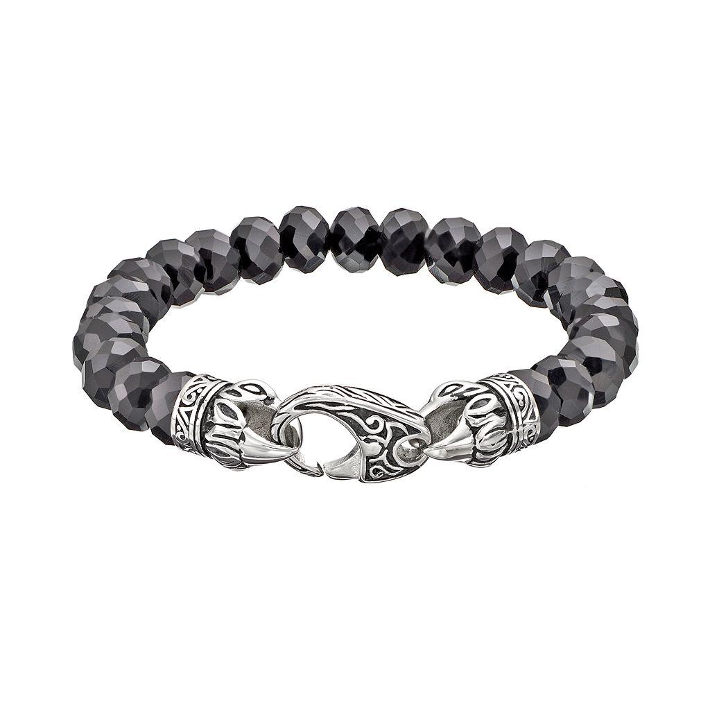 Black Agate Stainless Steel Tribal Stretch Bracelet - Men
