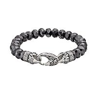 Black Agate Stainless Steel Tribal Stretch Bracelet - Men