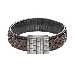 Black Ion-Plated Stainless Steel Woven Leather Bracelet - Men