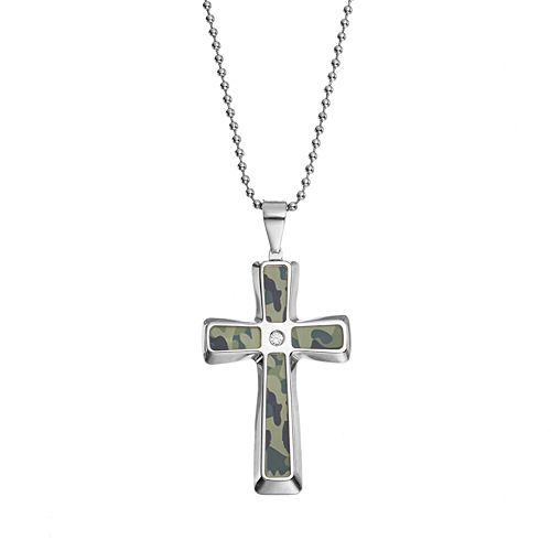 Diamond Accent Stainless Steel Camouflage Cross Pendant Necklace - Men