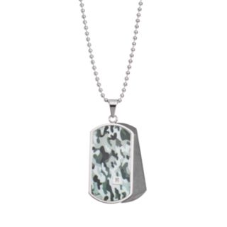 Diamond Accent Stainless Steel Camouflage Dog Tag Necklace - Men