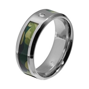 Diamond Accent Stainless Steel Camouflage Stripe Wedding Band - Men
