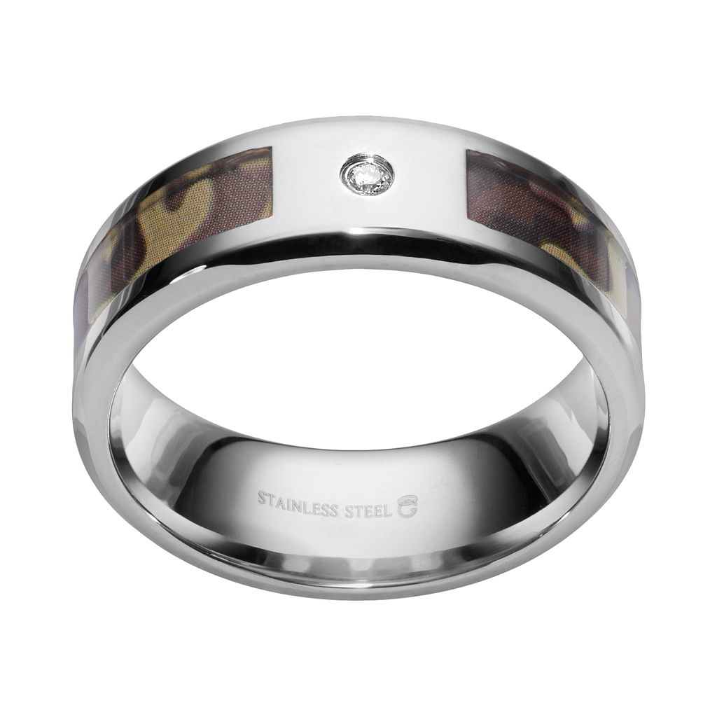 Diamond Accent Stainless Steel Camouflage Stripe Wedding Band - Men