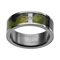Diamond Accent Stainless Steel Tigerstripe Camouflage Wedding Band - Men
