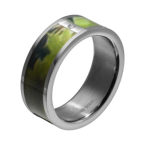 Diamond Accent Stainless Steel Tigerstripe Camouflage Wedding Band - Men