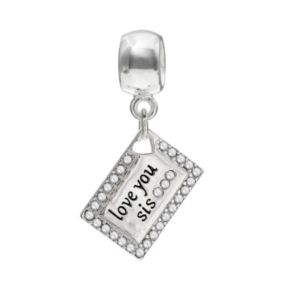 "Individuality Beads Crystal Sterling Silver ""Love You Sis"" Envelope Charm"