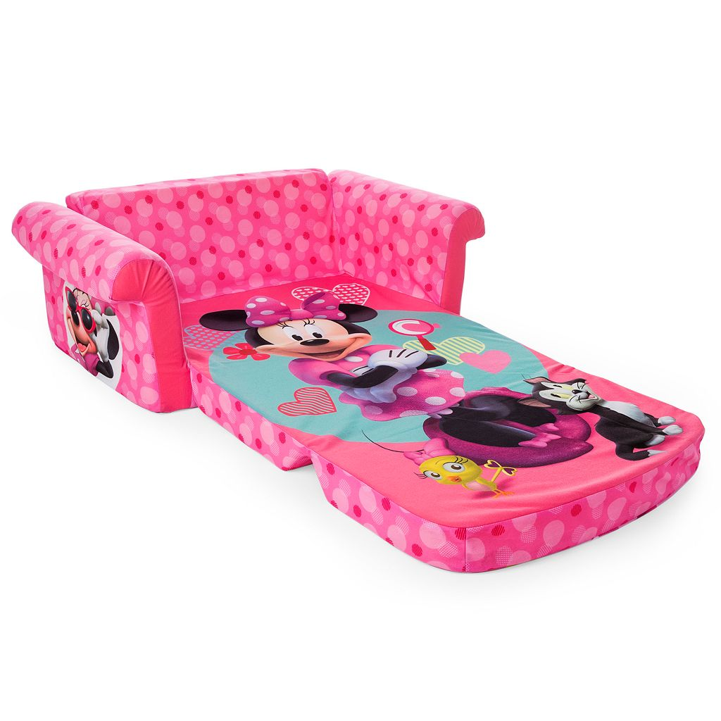Disney Mickey Mouse and Friends Minnie Mouse Marshmallow 2-in-1 Flip Open Kids Sofa by Spin Master