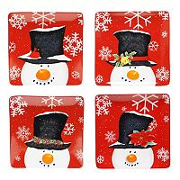 Certified International Top Hat Snowman 4 pc Dinner Plate Set